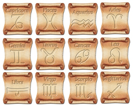 Set of zodiac symbols on ancient scrolls photo