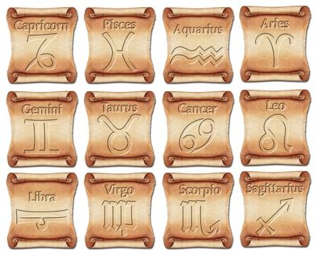 abstract aquarius: Set of zodiac symbols on ancient scrolls