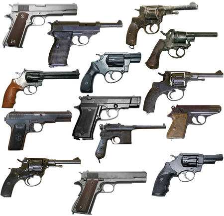 xx century: Set of isolated vintage personal firearms of XX century on white