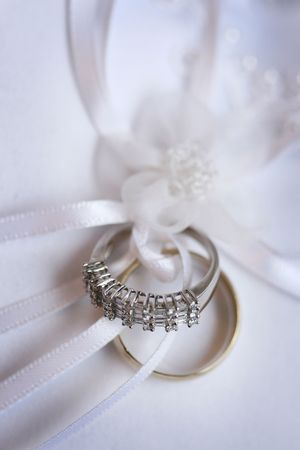 Wedding rings of white and red gold photo