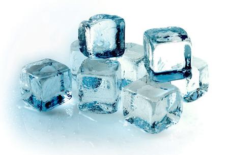 Blue ice cubes on white background Stock Photo - 1710653