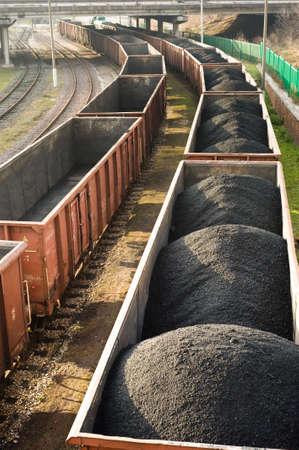 coal mining: Coal wagons on railway tracks