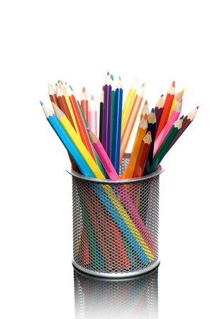 closeups: Multicolored pens on white background