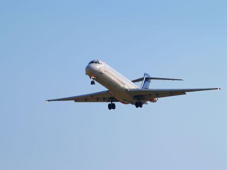 Airplanes landing on Brussels International Airport, Zaventem, Belgium. Stock Photo