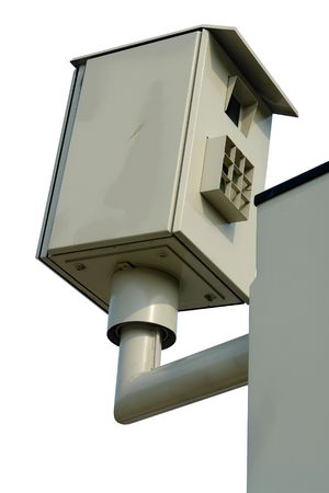 Inconspicuous roadside speed trap camera in Belgium. Perfectly isolated over white (#FFFFFF). photo