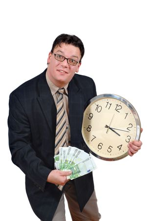 equals: Young business man with clock and euro banknotes, isolated over white. Business concept of time equals money.