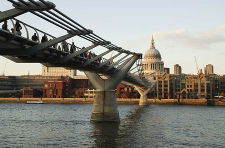 st pauls: St pauls and Millenium bridge Stock Photo