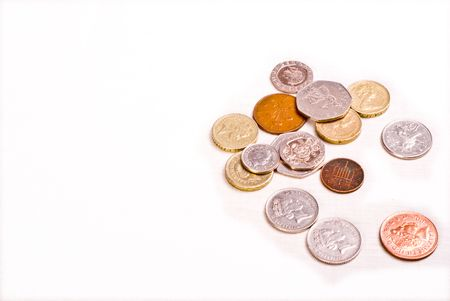 money coins on white background Stock Photo - 2584352