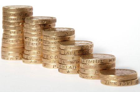 pound coins: Pound coins on white background Stock Photo
