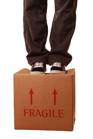 Fragile box - Man standing on top of photo