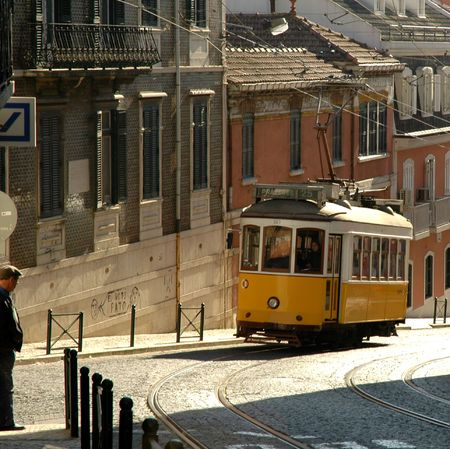 typical: A typical trolley in a Lisbon street