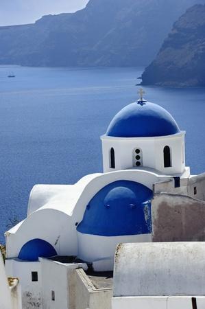 mediterranean house: Church Cupolas of Oia town on Santorini island, Greece