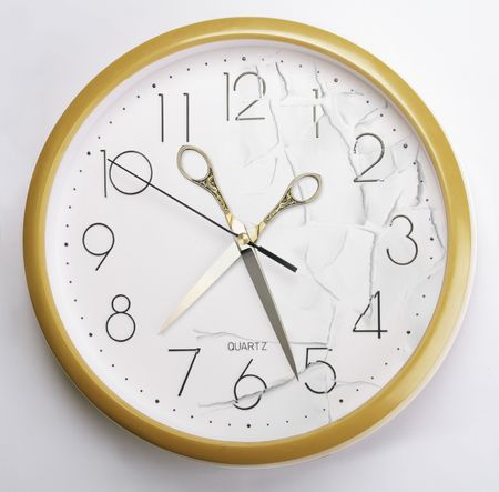 Clock with scissors instead hand Stock Photo - 690779