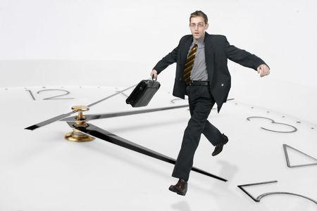 businessman run through time