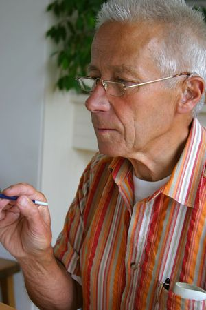 man painting: Retired man painting