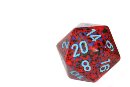 sided: Red twenty sided dice isolated Stock Photo