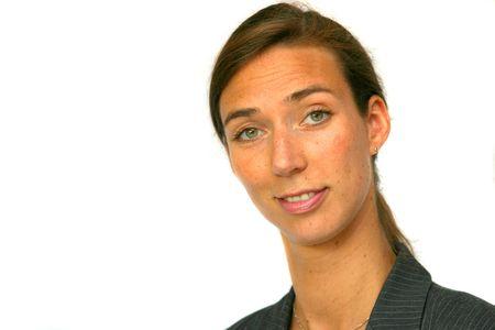 sceptical: Pretty brunette looking sceptical Stock Photo