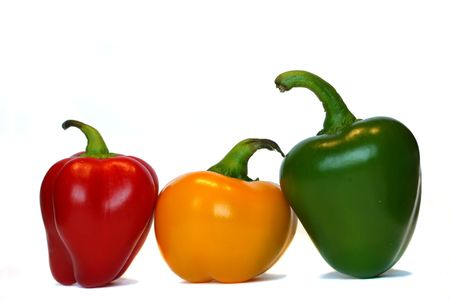 Three bellpeppers in a row Stock Photo