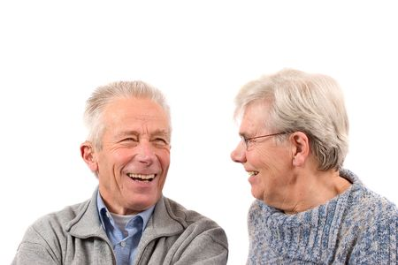 Senior couple laughing together photo