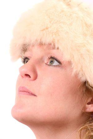 fake smile: High key winter portrait Stock Photo