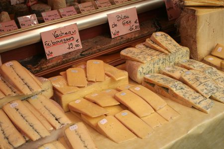 French cheese for sale at a market in paris