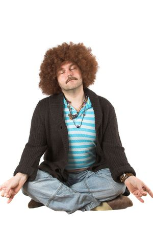 unfit: Overweight hippie in meditation pose