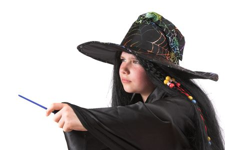 costum: Little girl playing witch during Hallowee