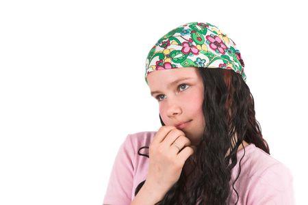 bandana girl: Cute shy girl with bandana Stock Photo