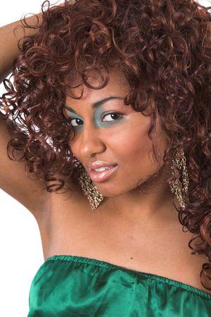 Beautiful black woman with green makeup Stock Photo - 418991