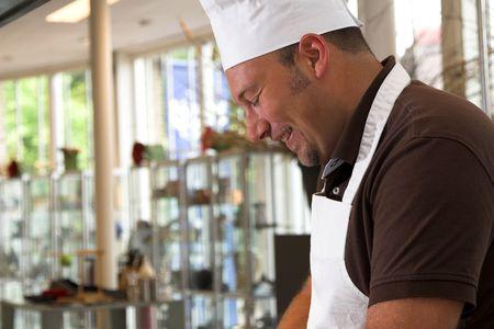 Italian chef cooking Stock Photo