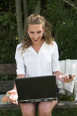 lunchbreak: Pretty businesswoman working in the park Stock Photo