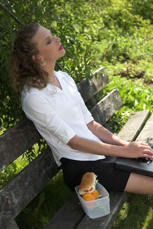 lunchbreak: pretty businesswoman relaxing in the shade, with her laptop on her lap