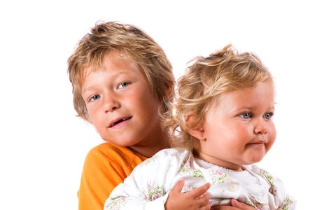 Blond boy and girl Stock Photo - 496971