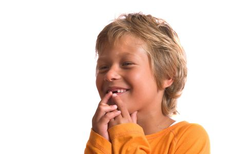 Blond boy being a little shy