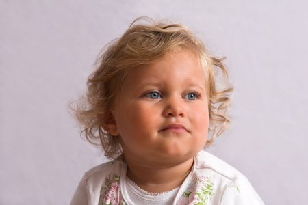 Cute little two year old on grey backround Stock Photo - 496958
