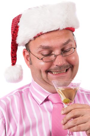 grin: Handsome businessman with a silly grin and a christmas hat