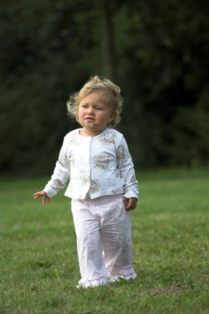 two year old: Cute two year old in the park Stock Photo