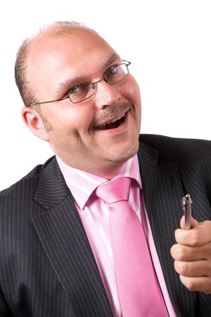 Businessman pulling a happy face after having just got the deal photo