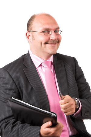 Businessman looking very pleased with the deal he has just made photo
