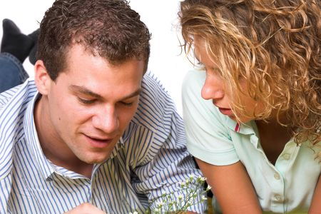 Young girl and boy close together sharing some intimate moments Stock Photo - 504160