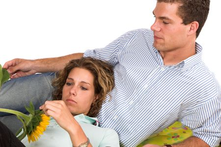 Young couple relaxing together photo