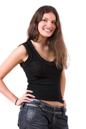 Beautiful teenager standing in a confident pose with her hands on her hip and smiling Stock Photo - 564809