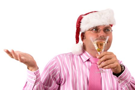 Businessman having an argument at a christmas party while holding a glass of martini photo