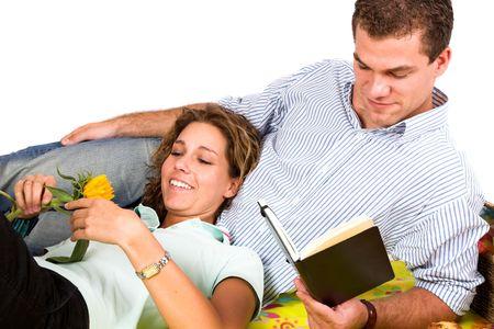 Romantic couple enjoying a leisurely picnic together photo