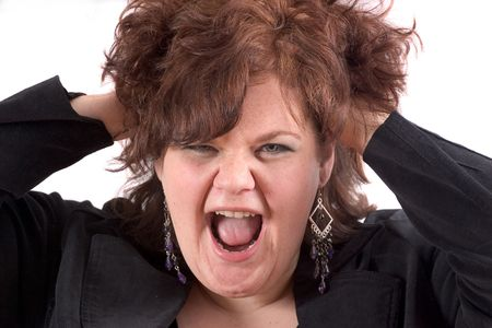 Big woman with her hands in her hair face in a scream Stock Photo - 568650