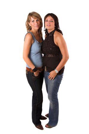 full body shot: Dos hermanas en tiro lleno del cuerpo del fondo blanco