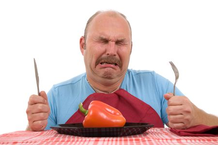belly pepper: Overweight man looking very unhappy with his diet and bursting into tears