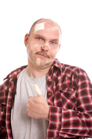 adult man with his head covered in bandaids and his thumb wrapped Stock Photo - 3010239