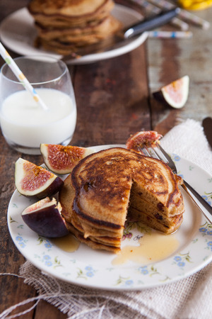 flapjacks: Stack of pancakes with figs and honey Stock Photo
