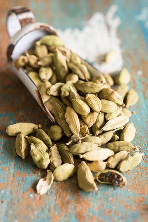 Close  up of cardamom pods which are used in Indian cooking Stock Photo